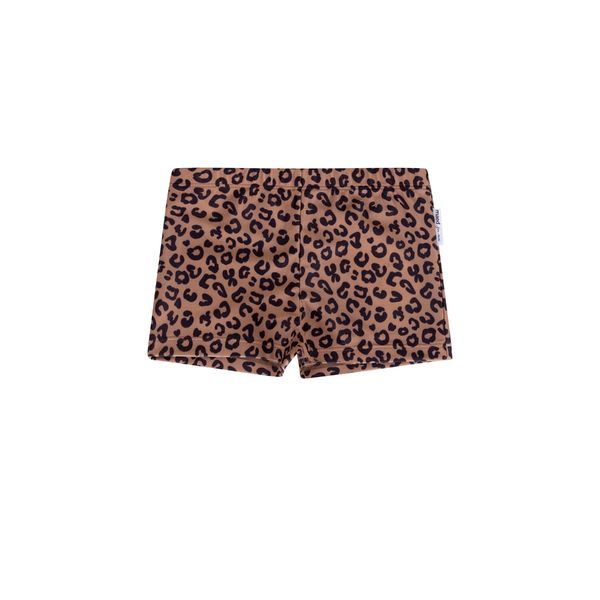 Maed for mini Swim Shorts, Brown Leopard